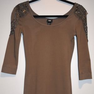 H&M Fitted Brown Casual/Cocktail Dress with Bead